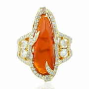 Fire Opal Gemstone Cocktail Ring Studded Diamond 18k Yellow Gold Jewelry On Sale