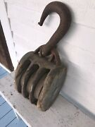 Antique Heavy Duty Block And Tackle Pulley Forged Iron Blue Paint Nautical Ship