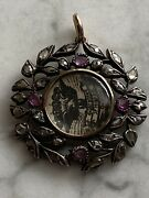 Antique Edwardian Rose Gold And Silver Ruby And Diamond Locket Pendant