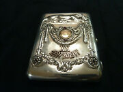 Antique Sterling Silver Gold Ruby And Sapphire Cigarette Case Russian Revolution