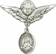 Sterling Silver Baby Badge Guardian Angel Pin With Immaculate Heart Of Mary Char