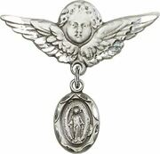 Sterling Silver Baby Badge Guardian Angel Pin With Modern Style Miraculous Medal