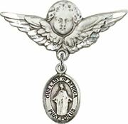 Sterling Silver Baby Badge Guardian Angel Pin With Our Lady Of Africa Charm, 1 1