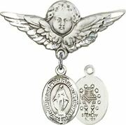 Sterling Silver Baby Badge Guardian Angel Pin With Miraculous Medal Charm, 1 1/4