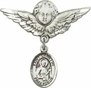 Sterling Silver Baby Badge Guardian Angel Pin With Saint Camillus Of Lellis Char