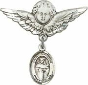 Sterling Silver Baby Badge Guardian Angel Pin With Saint Casimir Of Poland Charm
