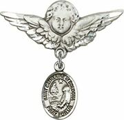 Sterling Silver Baby Badge Guardian Angel Pin With Saint Catherine Of Bologna Ch