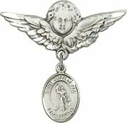 Sterling Silver Baby Badge Guardian Angel Pin With Saint Joan Of Arc Charm, 1 1/