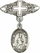 Sterling Silver Baby Badge Cross Pin With Saint Augustine Of Hippo Charm, 3/4 In