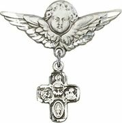 Sterling Silver Baby Badge Guardian Angel Pin With 4-way Holy Dove Charm, 1 1/4