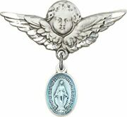 Sterling Silver Baby Badge Guardian Angel Pin With Blue Enameled Miraculous Meda