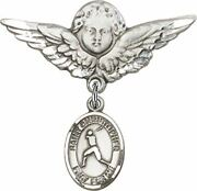 Sterling Silver Baby Badge Guardian Angel Pin With Saint Christopher Baseball Ch