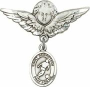 Sterling Silver Baby Badge Guardian Angel Pin With Saint Sebastian Soccer Charm,