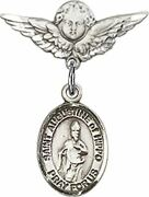 Sterling Silver Baby Badge Cherub Angel Pin With Saint Augustine Of Hippo Charm,