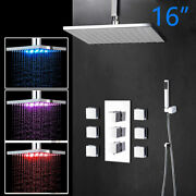 16 Led Rain Shower Faucet Set Square Head Ceiling Mounted 6 Body Jets Mixer Tap