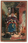 Halloween Postcard. Raphael Tuck And Sons, Series 160. Witch Sitting On Chair.