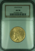 1914-d Indian Eagle 10 Gold Coin Ngc Au-58 Kd