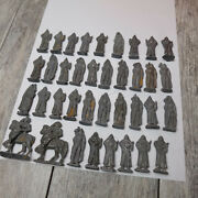 Lot Of 37 Vintage Diecast Lead Small Toy Soldiers Figures Men Horses Animal