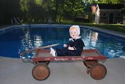Antique 1920and039s Coaster Wagon Rolls Racer Speedster Orig Paint And Hand Brake