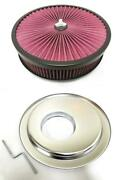 14 X 3 High Flow Through Air Cleaner Kit Washable Filter Offset Base Wing Nut