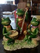 Vintage Lily Pad Lane By Crystal Clear Porcelain Three Frog Orchestra Figurine