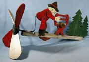 Collectible Folk Art Primitive Wood Whirligig Woodcutter Saw Log Trees Ca 1950s