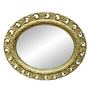 Antique French Victorian Rococo Giltwood Ornate Plaster Oval Mirror 2x3