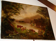 Hudson River Valley Style Lake George 19th Cent. Large Primitive Painting-v Nice