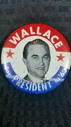 Vintage 1968 George Wallace For President Campaign Button - 3-1/2