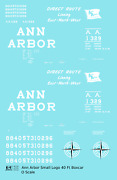 K4 O Decals Ann Arbor 40 Ft Boxcar White Small Flag / Compass
