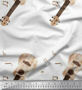 Soimoi Fabric Notes And Guitar Musical Instrument Fabric Prints By Yard - Mi-3j