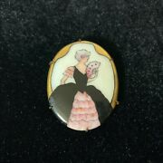 Antique Victorian Mother Of Pearl Gold Plated Pin Button Brooch Broach Woman