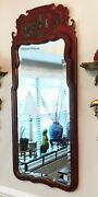 Friedman Brothers The Tsingtao Chippendale Chinoiserie Red Mirror Beveled Glass