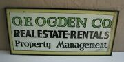 Antique Oe Ogden Co Real Estate Reverse Glass Advertising Sign 36 X 16 Large