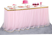 Pink Tulle Table Skirt Gold Brim Tutu Table Skirts For Candy Buffet Supplies Pin
