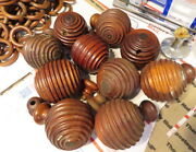 Rare Ca.1800 Koa Curtain Rod Finials Or Ends Carved In-round Iolani Palace