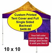 Custom Printed Combo 10 X 10 Replacement Tent Canopy 300d And Full Backwall