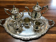 Baroque Tea And Coffee Set By Wallace - 6 Piece Vintage Siverplate Set