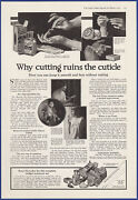 Vintage 1917 Cutex Cuticle Remover Nails Manicure Bathroom Art Ephemera Print Ad