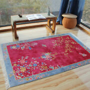 Yilong 4and039x6and039 Chinese Art Deco Handknotted Silk Carpet Family Room Area Rug