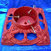 Vintage Cast Iron Christmas Tree Stand Ornate Holiday Crimson Red Heavy