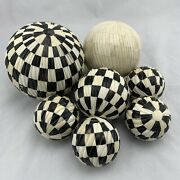 7 Antique Carpet Bowling Balls - Carved Camel Bone - Largest Is About 6 Inches