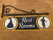 1930andrsquos Double Sided Porcelain Hanging Restroom Sign 21andrdquox6.5