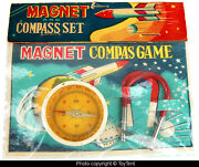 Vintage Space Age Magnetic Compass Game Dime Store Toy Japan Bagged +header Card