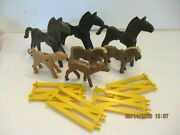 Playmobil Lot Of Animal Figures Horses, Fawn, Pig And Fencing