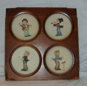 Hummel Little Music Makers Mini Plates Series Of 4 In A Wooden Frame