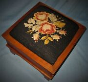Antique Solid Cherry Empire Foot Stool Original Finish And Needlepoint Top 1840's
