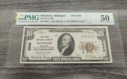 1929 10 Manistee Michigan Bank Note Ch 2539 Pmg Certified Au50