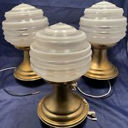 Set Of Three 3 Flush Mount Antique Brass Fixtures Rare Art Globes 50c