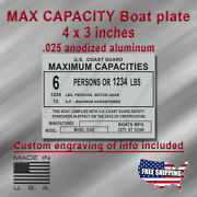 Max. Capacities Boat Plate - Silver Aluminum - 4x3 - Custom Engraving Included